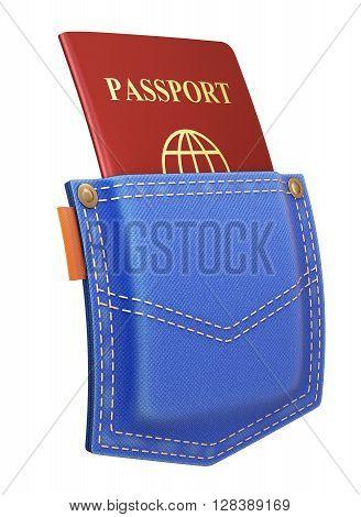 Red passport in back pocket of a blue jeans - 3D illustration