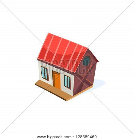 Farm House Simplified Cute Illustration In Childish Colorful Flat Vector Design Isolated On White Background