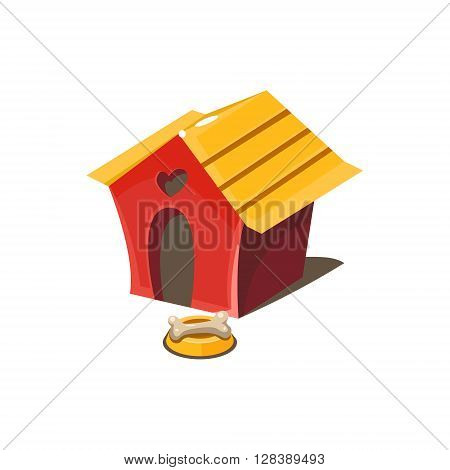 Kennel Simplified Cute Illustration In Childish Colorful Flat Vector Design Isolated On White Background