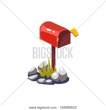 Post Box Simplified Cute Illustration In Childish Colorful Flat Vector Design Isolated On White Background
