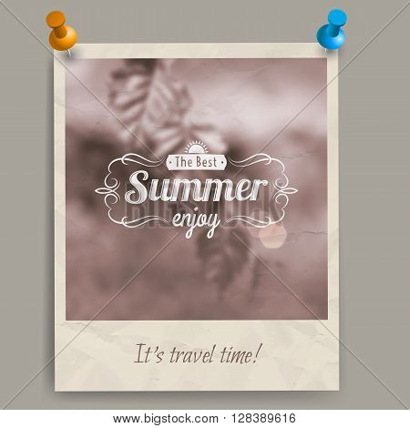 Blurred summer background with fresh birch leaves out of focus and retro caption old sepia card or a photo with two pins. You can pin it to a wall or a board.
