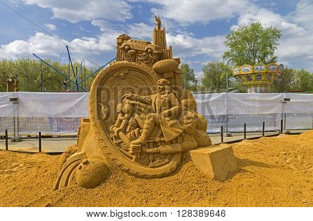 MOSCOW RUSSIA - May 1 2016: The exhibition contest of sand sculptures in Kolomenskoye Park. Composition