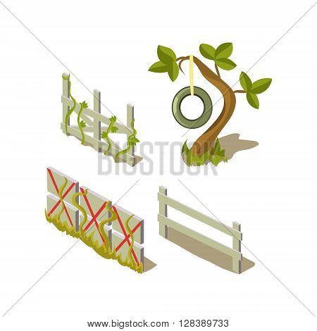 Sheds And Tree Simplified Cute Illustration In Childish Colorful Flat Vector Design Isolated On White Background
