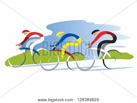 Three cyclists competitors. Colorful stylized illustration. Vector available.