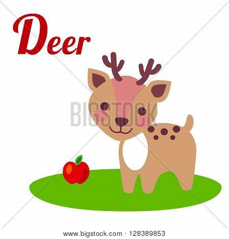 Cute animal alphabet. D letter. Cute cartoon Deer. Alphabet design in a colorful style.