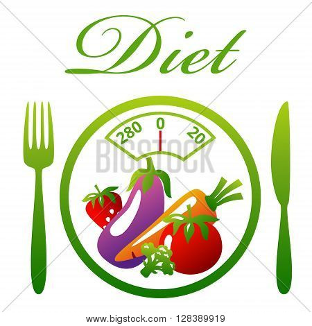 Weighing scales. Healthy food. Diet concept snack of vegetables and fruits. Vector illustration