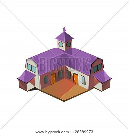 Big Farm House Simplified Cute Illustration In Childish Colorful Flat Vector Design Isolated On White Background