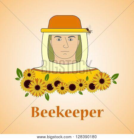 Beekeeping vector set. Beekeeper with sunflowers. Vector illustration.
