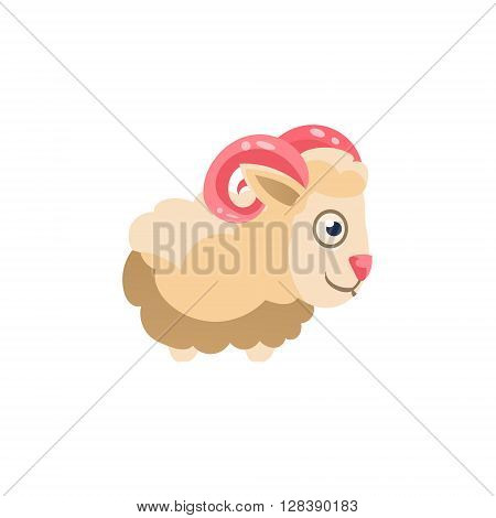Sheep  Simplified Cute Illustration In Childish Colorful Flat Vector Design Isolated On White Background