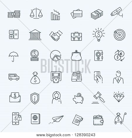 Outline vector web icon set - money, finance, payments
