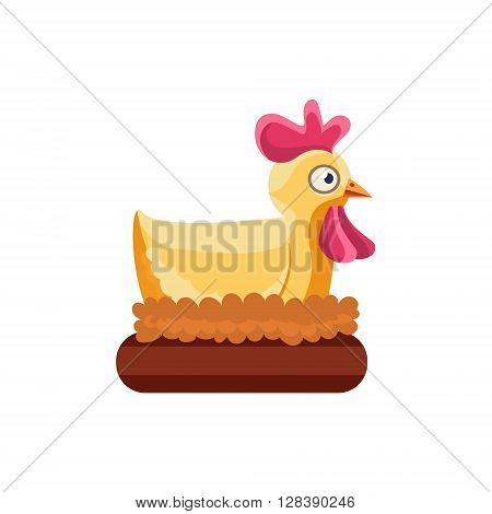 Chicken Nesting Simplified Cute Illustration In Childish Colorful Flat Vector Design Isolated On White Background