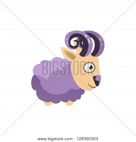 Ram Simplified Cute Illustration In Childish Colorful Flat Vector Design Isolated On White Background
