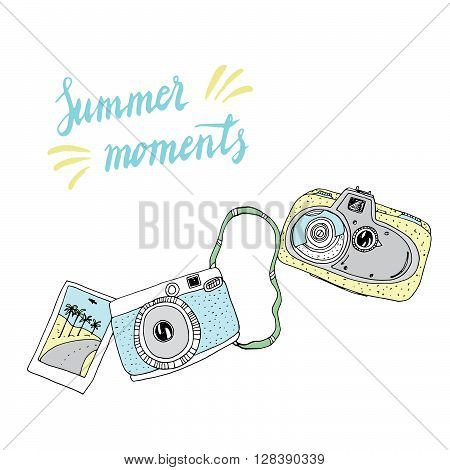 Cute hand drawn old and new camera. Vector card. Best summer memories.