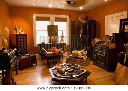 Interior of eclectic home store.