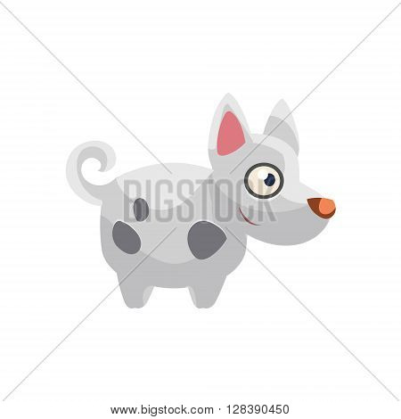 Hound Simplified Cute Illustration In Childish Colorful Flat Vector Design Isolated On White Background