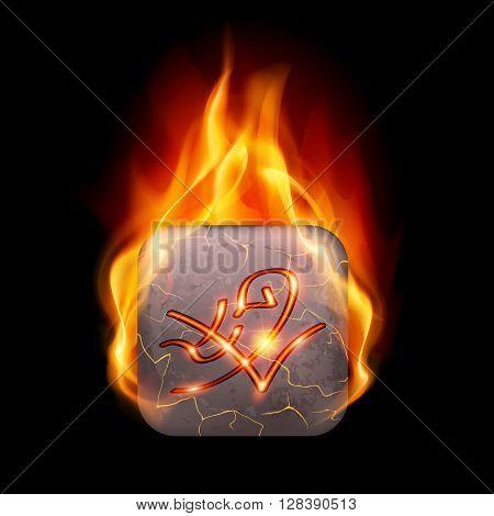 Quadrangular stone with magic rune in orange flame