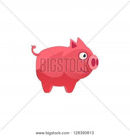 Pig Simplified Cute Illustration In Childish Colorful Flat Vector Design Isolated On White Background