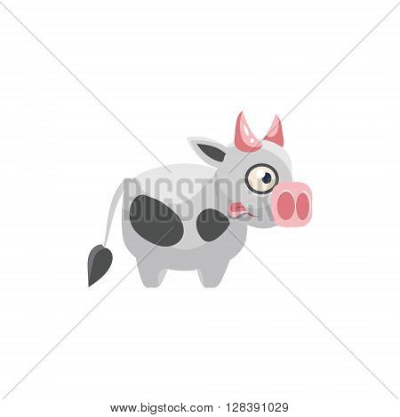 Cow Simplified Cute Illustration In Childish Colorful Flat Vector Design Isolated On White Background