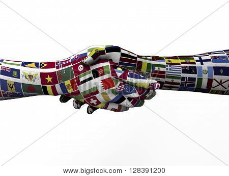Handshake Between Two Nations Isolated On White
