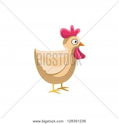Adult Chicken Simplified Cute Illustration In Childish Colorful Flat Vector Design Isolated On White Background