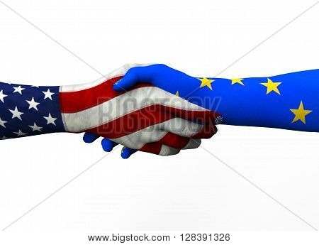 American Hand Shaking European Hand Isolated On White With