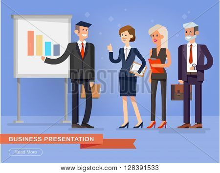 Vector detailed character businessman. Business team at a presentation. Public speaking skills coaching workshop presentation and conference