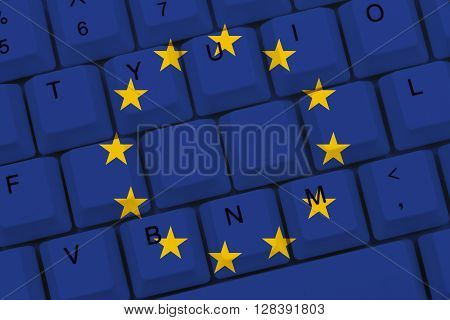 Internet access in European Union The European Union flag on a computer keyboard