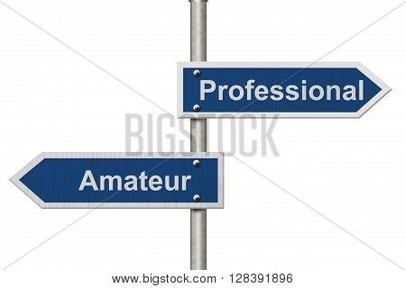 Difference between being a professional or an amateur Two Blue Road Sign with text Professional and Amateur isolated over white, 3D Illustration