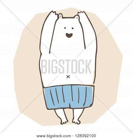 A polar bear wearing blue swim suite