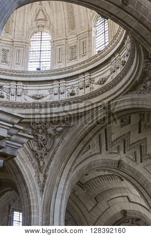 Jaen - Spain may 2016 2: Inside view of the Cathedral in Jaen central dome of cruise work of the architect Juan de Aranda y Salazar, it has a circumference adorned with twelve meters and a half of diameter in the drum and fifty meters high,Jaen,Spain