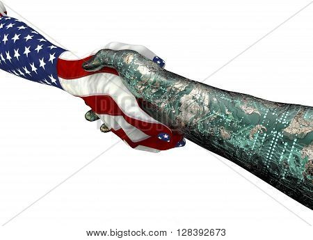 American Hand Shaking Robothand Isolated On White
