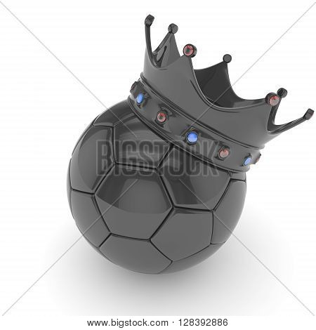 Black soccer ball with black crown on white background. 3D rendering.
