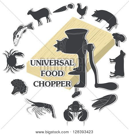 Universal food chopper. Animal, Meat, Seafood . Vector illustration