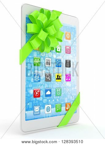 White tablet with green bow and icons. 3D rendering.