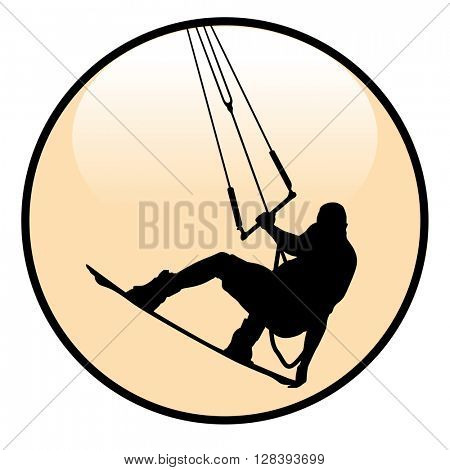Kiteboarding Rider Icon isolated on white background. Illustration Vector.