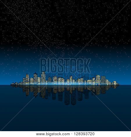 Night modern city on the ocean. 