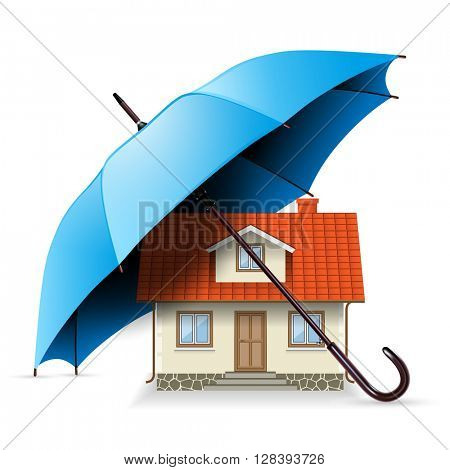 House under an Umbrella. Security Concept, Illustration Icon, vector.
