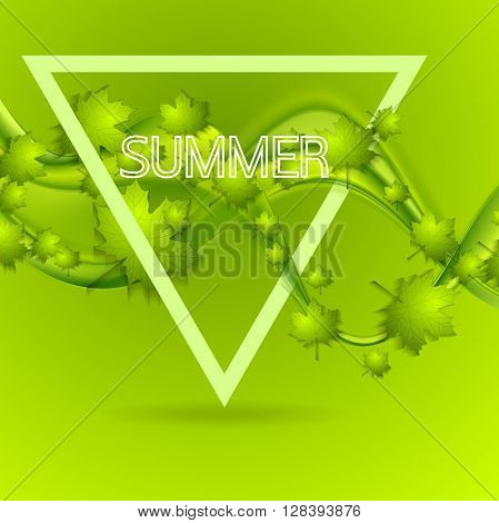 Bright green summer leaves wavy background. Vector smooth waves summer or spring graphic design