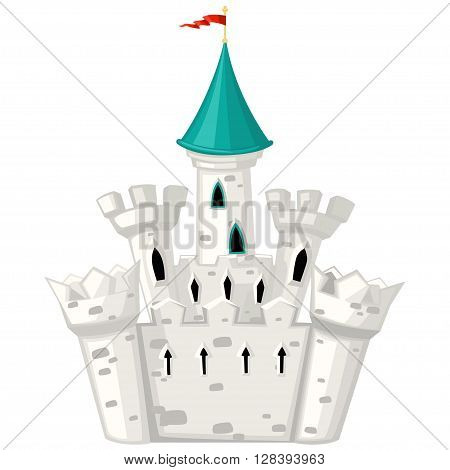 Vector cartoon fairytale castle with green roof