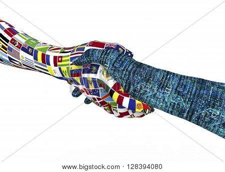 World Nations Hand Shaking Robothand Isolated On White