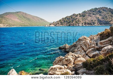 View of islands in Aeagean sea. Turkey. Marmaris