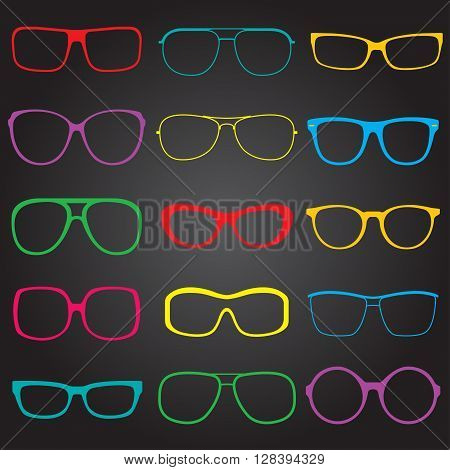 Glasses and sun glasses outline set. Colorful sun glasses silhouettes. Vector illustration.