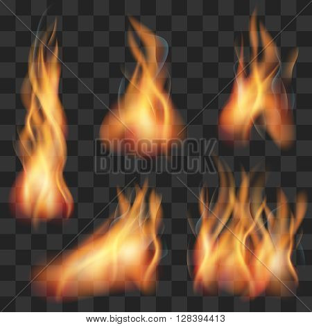 Vector realistic transparent fire flame set. Fire hot, flame fire, blaze fire illustration