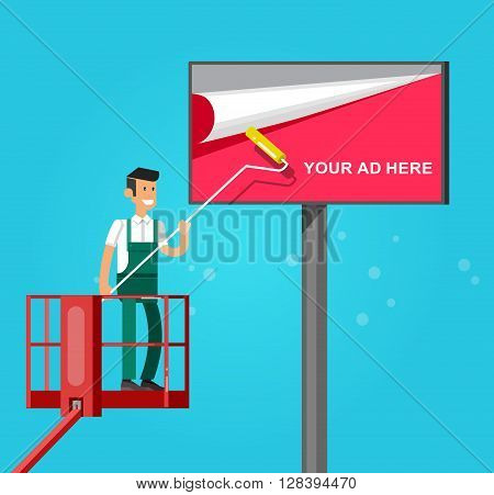 Blank billboard for new advertisement with Vector detailed character men worker on lift