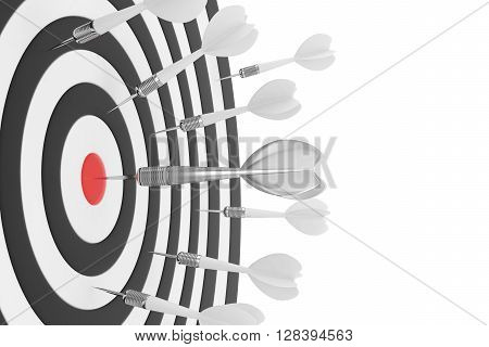 Darts board with red center and silver arrow on white background. 3D rendering.