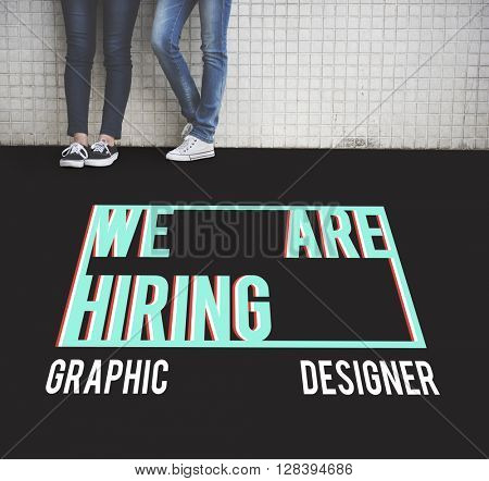 We are Hiring Job Application Creative Occupation Designer Concept