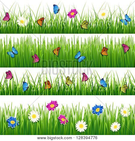 Green grass with flowers and butterflies. Seamless vector grass set. Flower and butterfly in grass seamless, nature flower and grass plant, meadow or field grass with flower and butterfly illustration