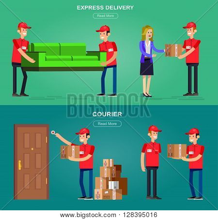 Funny Delivery character men Courier with a box at the door, handing the box to recipient, porters carry sofa, . Vector detailed illustration. Web banner illustration