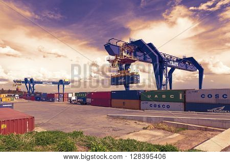 CZECH REPUBLIC, NYRANY,  27 APRIL,  2015: Nyrany container terminal.