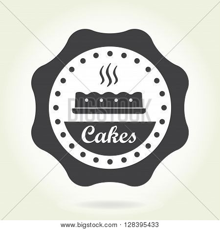 Bakery badge or label in old or vintage style. Pastry design elements isolated on white background. The cakes emblem for cafe or restaurant menu design Vector illustration.